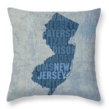 New Jersey Word Art State Map On Canvas Throw Pillow