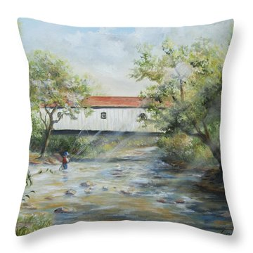Throw Pillow featuring the painting New Jersey's Last Covered Bridge by Katalin Luczay