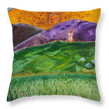 Throw Pillow featuring the painting New Jerusalem by Cassie Sears