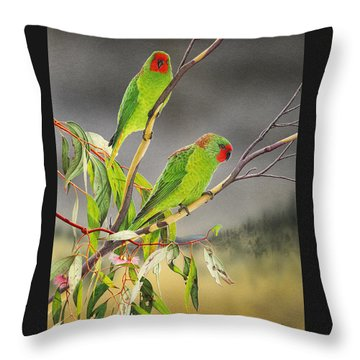 New Life - Little Lorikeets Throw Pillow by Frances McMahon