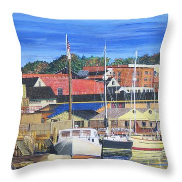 New London Marina Throw Pillow by Stuart B Yaeger