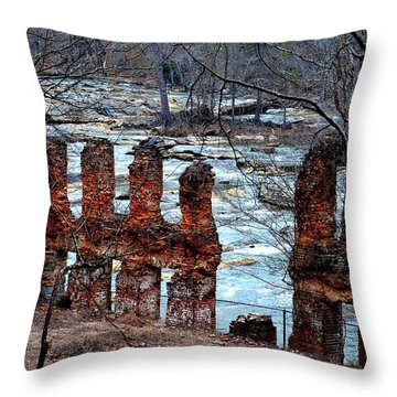 New Manchester Manufacturing Company Ruins Throw Pillow by Tara Potts