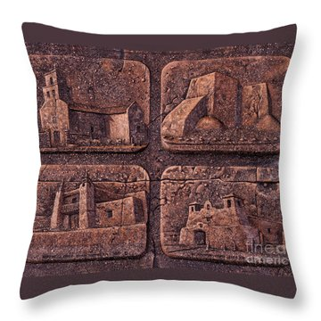 New Mexico Churches Throw Pillow by Ricardo Chavez-Mendez