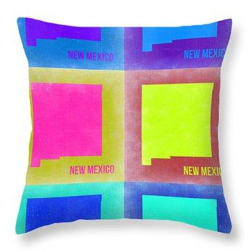 New Mexico Pop Art Map 2 Throw Pillow by Naxart Studio
