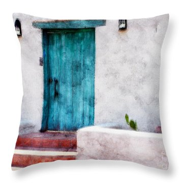 New Mexico Turquoise Door And Cactus  Throw Pillow by Barbara Chichester