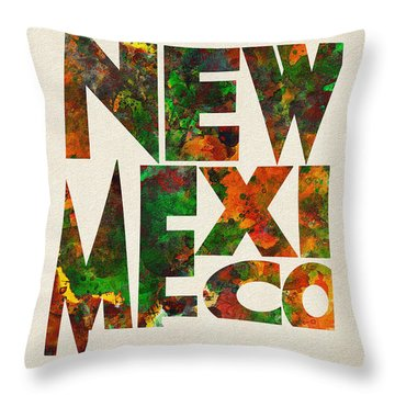 New Mexico Typographic Watercolor Map Throw Pillow