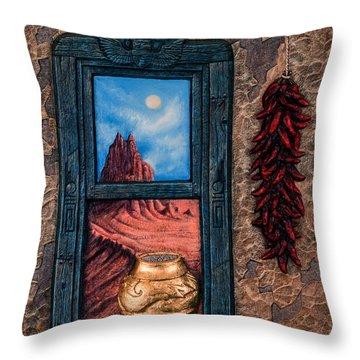 New Mexico Window Gold Throw Pillow