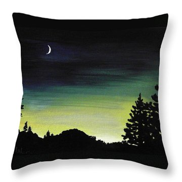 New Moon Throw Pillow by Anastasiya Malakhova