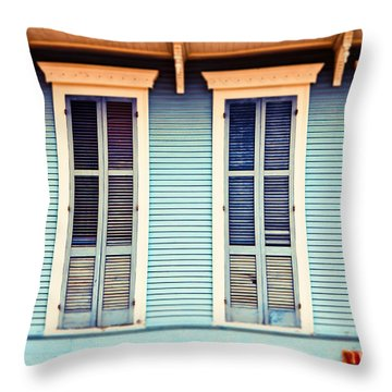 Throw Pillow featuring the photograph New Orleans Blue And Orange House by Sylvia Cook