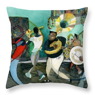 New Orleans Brass Band Jazz Throw Pillow