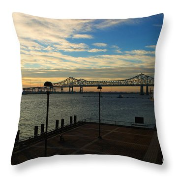 Throw Pillow featuring the photograph New Orleans Bridge by Erika Weber