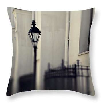 Throw Pillow featuring the photograph New Orleans Cathedral Street Lamp by Heather Green