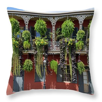 New Orleans City Jungle Throw Pillow by Christine Till