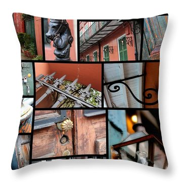 New Orleans Collage 2 Throw Pillow by Carol Groenen