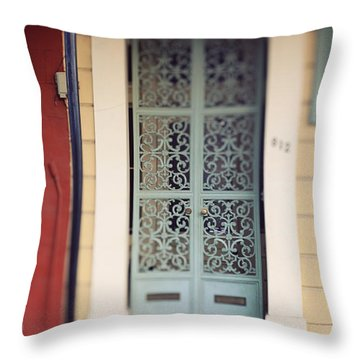 Throw Pillow featuring the photograph New Orleans Door by Heather Green