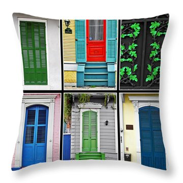 New Orleans Doors Throw Pillow by Christine Till