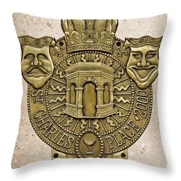 New Orleans Drama Faces Throw Pillow by Christine Till