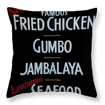 New Orleans Food Throw Pillow by Cecil Fuselier
