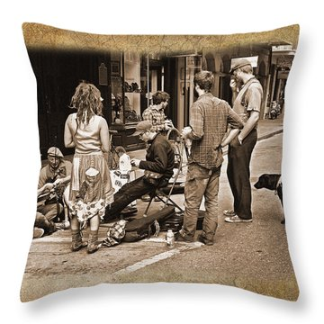 New Orleans Gypsies - Antique Throw Pillow by Judy Vincent