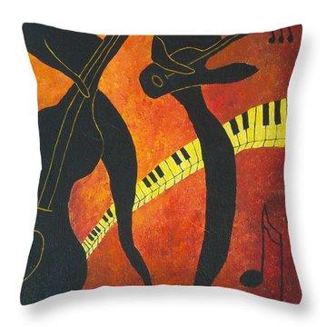 New Orleans Jazz Throw Pillow by Pamela Allegretto