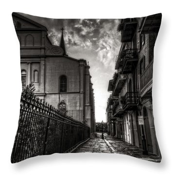 Throw Pillow featuring the photograph New Orleans' Pirates Alley In Black And White by Greg and Chrystal Mimbs