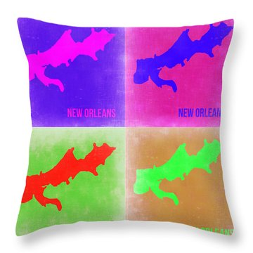 New Orleans Pop Art Map 2 Throw Pillow by Naxart Studio
