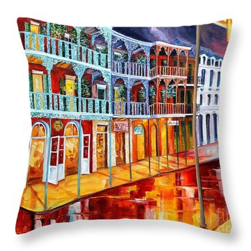 New Orleans Reflections In Red Throw Pillow by Diane Millsap