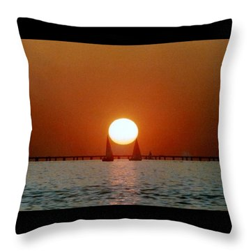 Throw Pillow featuring the photograph New Orleans Sailing Sun On Lake Pontchartrain by Michael Hoard