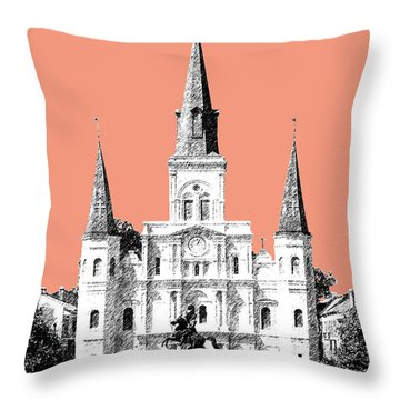 New Orleans Skyline Jackson Square - Salmon Throw Pillow by DB Artist
