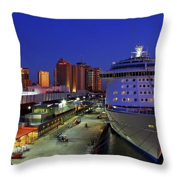 New Orleans Skyline With The Voyager Of The Seas Throw Pillow