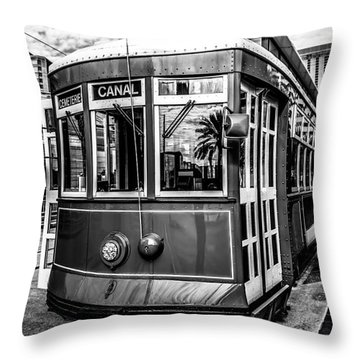 New Orleans Streetcar Black And White Picture Throw Pillow by Paul Velgos