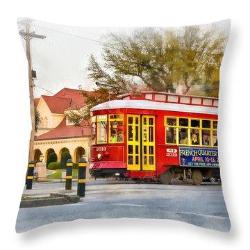 New Orleans Streetcar Paint Throw Pillow by Steve Harrington