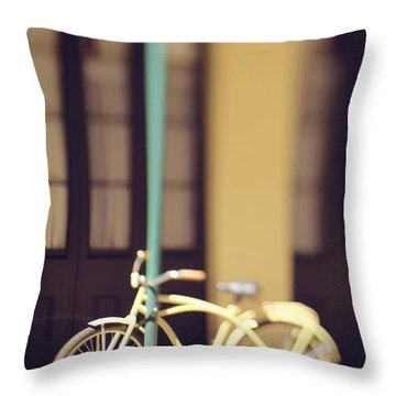 Throw Pillow featuring the photograph New Orleans Yellow Bicycle by Heather Green