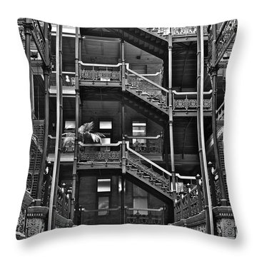 New Photographic Art Print For Sale Bradbury Building Downtown La Throw Pillow