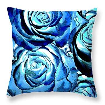 Pop Art Blue Roses Throw Pillow