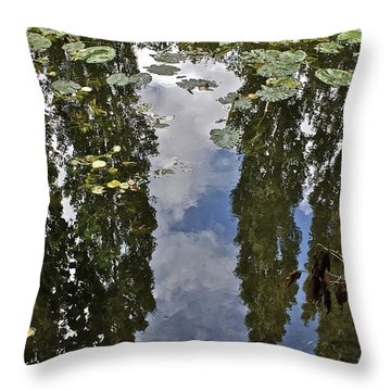 Reflections Amongst The Lily Pads Throw Pillow