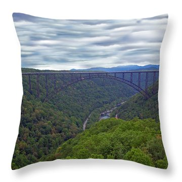 New River Bridge Throw Pillow by Aimee L Maher Photography and Art Visit ALMGallerydotcom