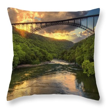 New River Evening Glow Throw Pillow by Mary Almond