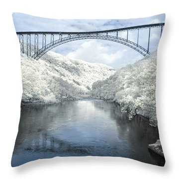 New River Gorge Bridge In Infrared Throw Pillow by Mary Almond