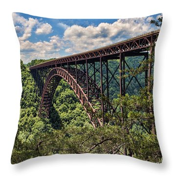 New River Gorge Bridge Throw Pillow by Laurinda Bowling
