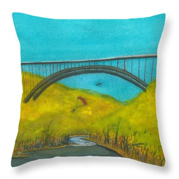 New River Gorge Bridge On Bridge Day Throw Pillow