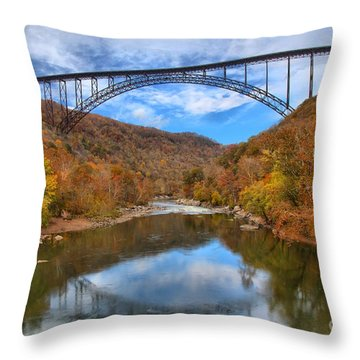 New River Gorge Reflections Throw Pillow