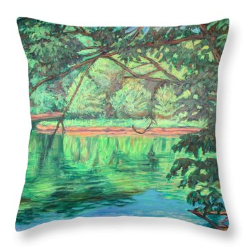 New River Reflections Throw Pillow by Kendall Kessler
