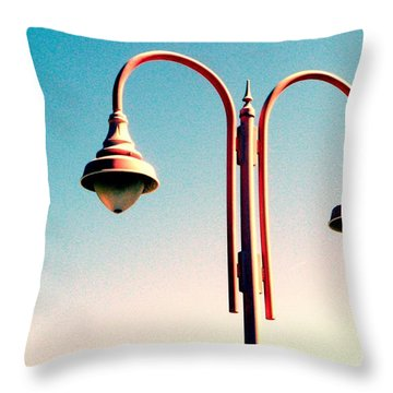 Beach Lamp Post Throw Pillow by Valerie Reeves