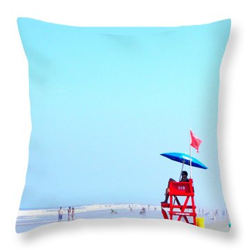 New Smyrna Lifeguard Throw Pillow by Valerie Reeves