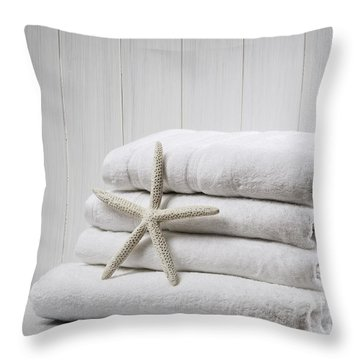 New White Towels Throw Pillow by Amanda Elwell