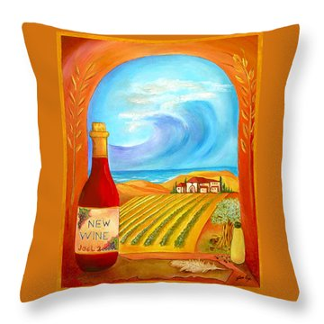 New Wine  Joel 2 Throw Pillow