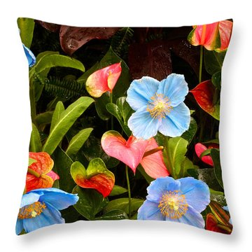 New World And Old World Exotic Flowers Throw Pillow