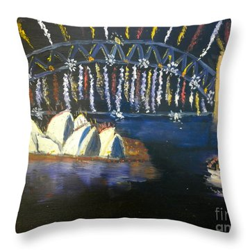 Throw Pillow featuring the painting New Year Eve On Sydney Harbour by Pamela  Meredith