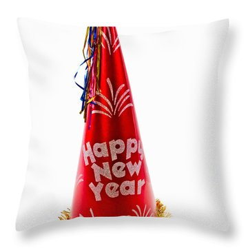 Happy New Year Party Hat Throw Pillow by Vizual Studio